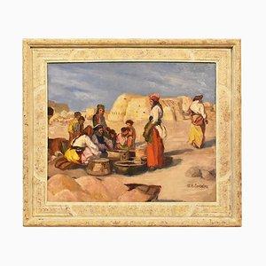 Paysage, huile sur papier, XXe siècle