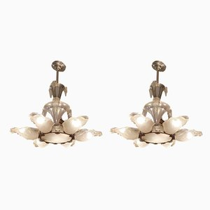 Chrome and Glass Chandeliers, 1930s, Set of 2