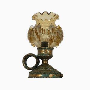 Italienische Brutalistische Vintage Tischlampe aus Eisen & Glas von Poliarte, 1970er