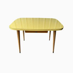 Vintage Yellow Formica Dining Table With Drawer