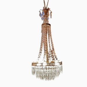 Louis XVI Style 3-Light Hot-Air Balloon Chandelier in Bronze and Crystal, 1930s