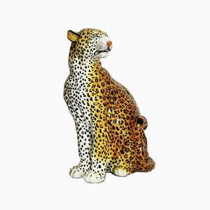 Escultura de leopardo vintage en terracota vidriada, Italia, años 60