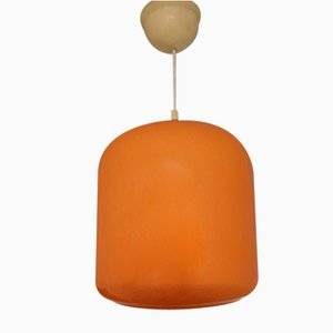 Vintage Deckenlampe aus orange emailliertem Glas auf weiß lackiertem Metall