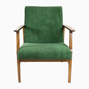 Vintage Green Velvet Lounge Chair, 1970er Jahre