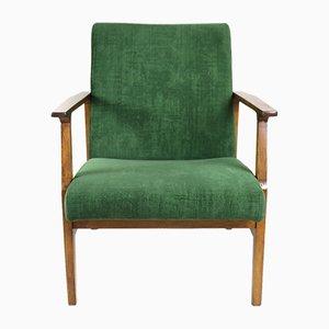Vintage Green Velvet Lounge Chair, 1970s