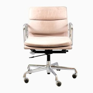 Vintage German Chrome Aniline Leather Soft Pad Model EA217 Desk Chair by Charles & Ray Eames for Herman Miller, 1978