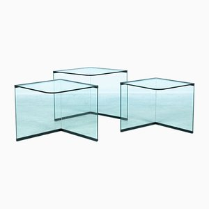 Glass Nesting Tables, 1970s, Set of 3