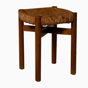 Meribel Stool in Stained Ash and Rush by Charlotte Perriand, 1948