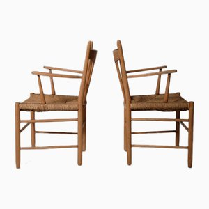 Vintage Scandinavian Oak and Rush Armchairs, Set of 2