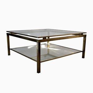 Table Basse à Deux Niveaux Mid-Century Moderne en Laiton et Verre de Maison Jansen