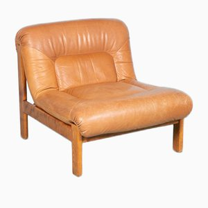 Cognac Leather Lounge Chair, 1960s