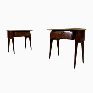 Rosewood and Pink Marble Nightstands, 1950s, Set of 2