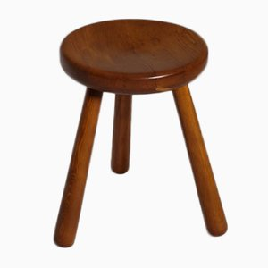 Mid Century French Modern Stool In Solid Pine