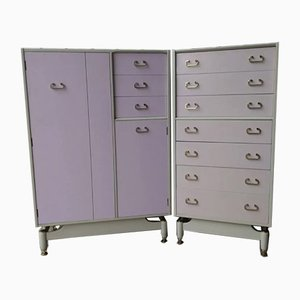 Tola Chinese White Lilac Wardrobe & Tallboy Chest of Drawers With Mirror from G Plan, Set of 2