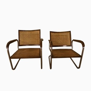 Vintage Model S102 Steel Tube Lounge Chairs by Fritz Schlegel for Fritz Hansen, Set of 2