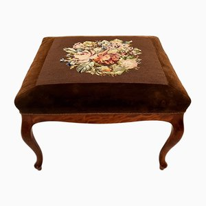 Antique Ottoman with Velvet Fabric and Floral Embroidery