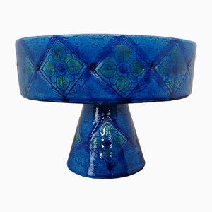 Blaue Rimini Keramikschale von Aldo Londi für Bitossi, 1960er