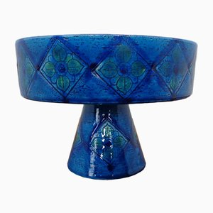 Rimini Blue Ceramic Bowl by Aldo Londi for Bitossi, 1960s