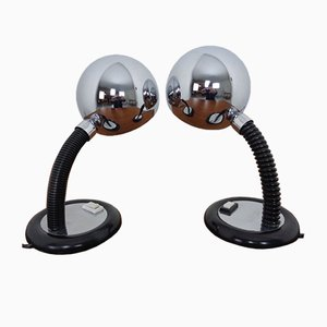 Adjustable Chrome Plated Space Age Table Lamps, 1960s, Set of 2