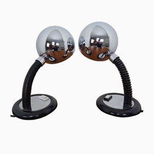Lampade da tavolo Space Age regolabili cromate, anni '60, set di 2