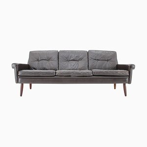 Danish 3-Seat Sofa in Dark Brown Leather, 1970s
