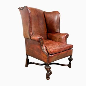 Vintage Sheep Leather Wingback Armchair with Buttoned Cushion