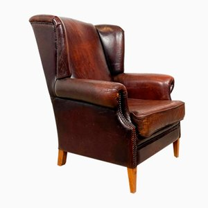 Vintage Dark Brown Sheep Leather Wingback Armchair