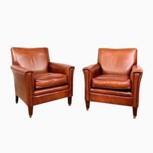 Vintage Cognac Colored Bendic Sheep Leather Armchairs, Set of 2