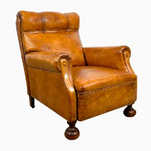 Antique Cognac-Colored Sheep Leather Armchair with Casters