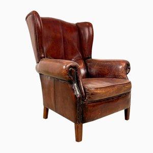 Vintage Dark Brown Sheep Leather Wingback Armchair