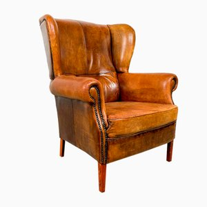 Vintage Cognac-Colored Sheep Leather Wingback Armchair