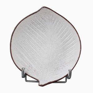 Vintage French Leaf-Shaped Ceramic Dish by Marcel Guillot, 1960s