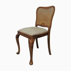 Upholstered Chairs in Solid Wood & Braided Back, Set of 4