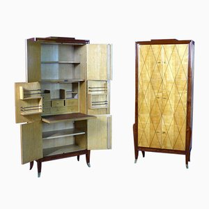 Art Deco Secretaire Cabinets, Set of 2