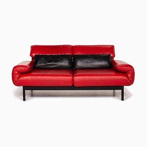 Canapé Plura 2 Places en Cuir Rouge et Noir par Rolf Benz