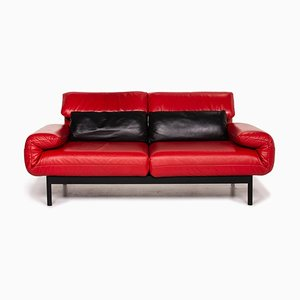 Plura Leather 2-Seat Sofa in Red & Black by Rolf Benz