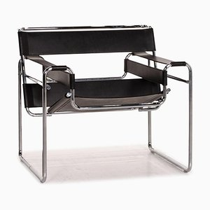 Wassily Chair in Black Leather by Marcel Breuer for Knoll International