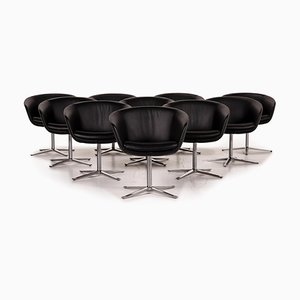 Leather Armchair Set in Black by Walter Knoll, Set of 10