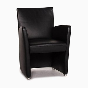 Leather Armchair in Black by Willi Schillig