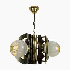 Deckenlampe aus Aluminium & Muranoglas von Mazegga, Italien, 1970er