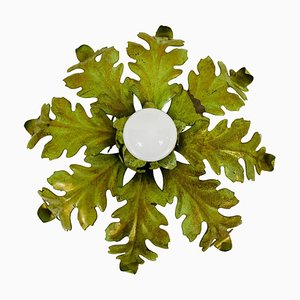 Green Florentine Flower Shape Flush Mount Attributed to Banci Firenze, 1950s