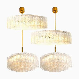 Glass & Brass Light Fixtures from Doria, Germany, 1960s, Set of 4