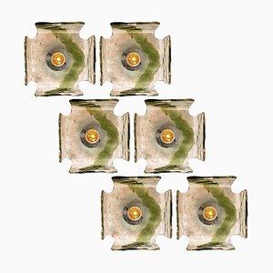 Handgeblasene Unterputz-Wandleuchte von J.T. Kalmar, 1960er Jahre