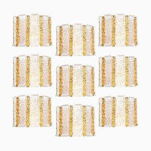 Trommelwandleuchte aus vergoldetem und Eisglas von J.T. Kalmar, Österreich