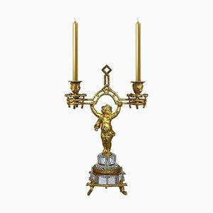 Bougeoir Putto Napoléon IIII en Bronze Doré au Feu de Baccarat
