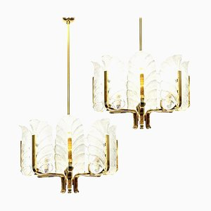 Large Glass Leaves Brass Chandeliers by Carl Fagerlund for Orrefors, Set of 2
