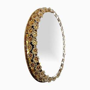 Backlit Flower Mirror in Gilt Brass Crystals, 1970