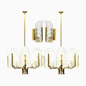 Leaves Brass Light Fixtures from Orrefors, Sweden, 1960s, Set of 4
