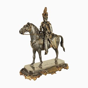 Soldier on Horse in Silver by F.lli Ranzoni, Milan, Italy, 1950s