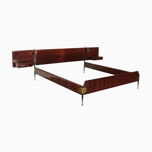 Bed in Veneered Wood, Metal & Brass, Italy, 1960s